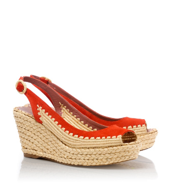 Orange Tory Burch Camden Wedge Espadrille