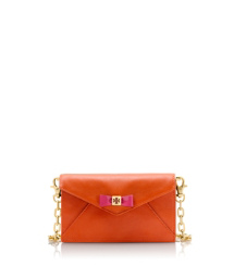Equestrian Orange/flamingo Tory Burch Bow Envelope Crossbody