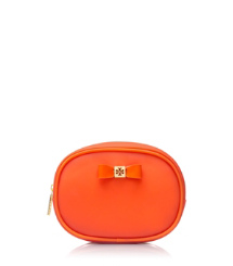 Electric Orange Tory Burch Bow Small Cosmetic Case