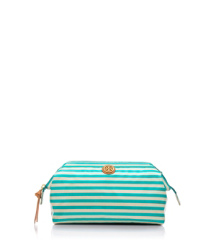Island Turq Stripe (skinny Stripe B) Tory Burch Large Molded Cosmetic Case
