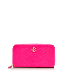 Energy Pink Tory Burch Portefeuille Allongé Zippé Serpent Fluo