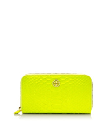 Flash Yellow Tory Burch Portefeuille Allongé Zippé Serpent Fluo
