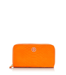 Sunrise Orange Tory Burch Portefeuille Allongé Zippé Serpent Fluo
