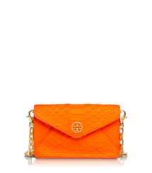 Sunrise Orange Tory Burch Neonfarbene Umhängetasche Mit Schlangendruck