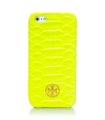 Flash Yellow Tory Burch Neonfarbenes Hartschalenetui Für Iphone 5 Mit Schlangendruck