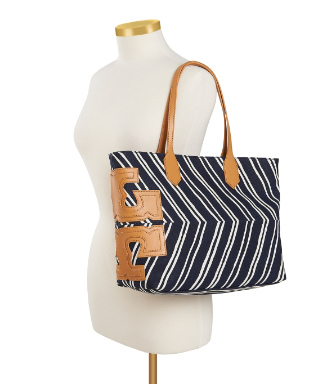 "Tory Burch Stripe Stacked ""t"" Tote"