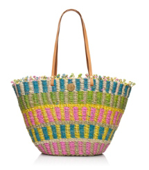 MULTI STRAW TOTE | STRAWBERRY/NATURAL MULTI | 654
