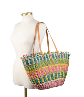 Strawberry/natural Multi Tory Burch Multi-color Straw Tote