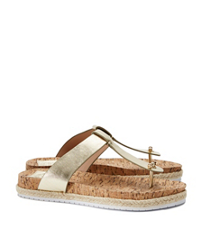 Tory Burch Cork-footbed Metallic Flat Thong Sandal