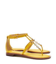 Reptile Yellow Tory Burch Toggle Flat Sandal