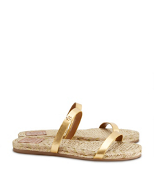 Tory Burch Metallic Two-band Flat Espadrille Slide