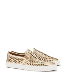 Tory Burch Metallic Huarache Slip-on Sneaker