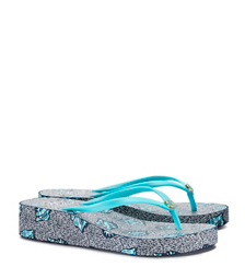 Bright Turquoise-shells Tory Burch Thandie Wedge Flip-flop