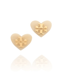 White Tory Burch Tilsim Logo Heart Stud Earring