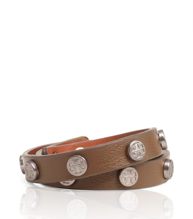 LEATHER DOUBLE WRAP LOGO STUD BRACELET