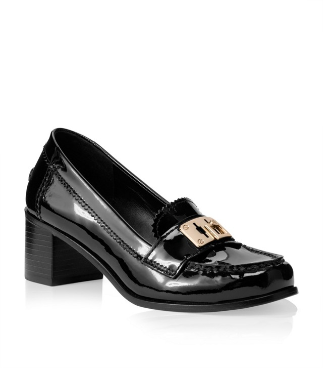 Patent Leather Mid Heel Mona Loafer