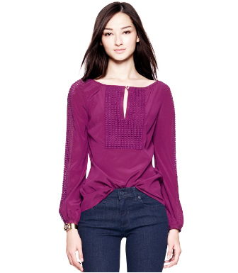 Washed Red Wine Tory Burch Lillian Top