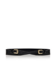 Black/black/black Tory Burch Crossed Belt