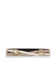Almond/bone/clay Beige Tory Burch Crossed Belt