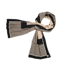 Black Brown Ivory Multi Tory Burch Halland Silk Scarf