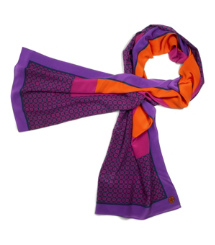 Imperial Purple Multi Tory Burch Halland Silk Scarf