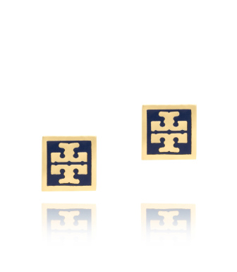 Tory Navy/shiny Gold Tory Burch Square Enamel Logo Stud Earring