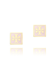 Pink/shiny Gold Tory Burch Square Enamel Logo Stud Earring
