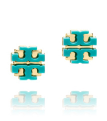 "Viridian Green Tory Burch Resin Large ""t"" Logo Stud"
