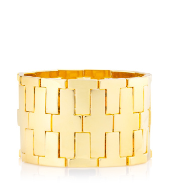 "Tory Burch Wide ""t"" Metal Stretch Bracelet"