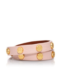 Warm Antelope/shiny Gold Tory Burch Leather Logo Studded Double Wrap Bracelet