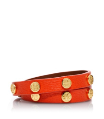 Fire Orange/shiny Gold Tory Burch Leather Logo Studded Double Wrap Bracelet