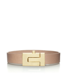 "Shiny Gold/almond Tory Burch Skinny ""t"" Push-lock Bracelet"