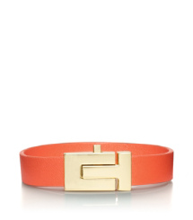 "Shiny Gold/fire Orange Tory Burch Skinny ""t"" Push-lock Bracelet"