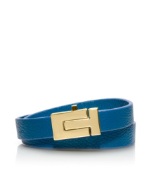 "Shiny Gold/evening Sky Tory Burch Skinny ""t"" Push-lock Double Wrap Bracelet"