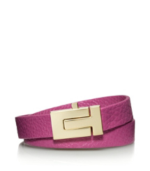 "Shiny Gold/wildflower Tory Burch Skinny ""t"" Push-lock Double Wrap Bracelet"