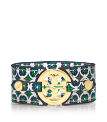 Bright Green Multi Tory Burch Skinny Double Snap Bracelet