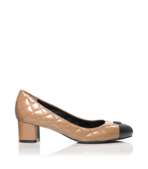 KAITLIN 45MM PUMP- BALLET PATENT CALF | SAND/BLACK | 289