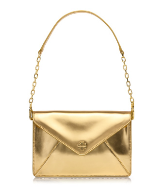 Gold Tory Burch Large Envelope Clutch