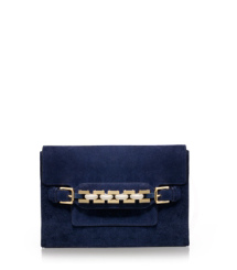 Suede and Chain Clutch
