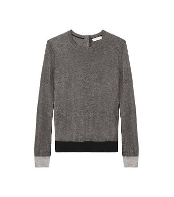 IBERIA CASHMERE SWEATER - CHARCOAL MELANGE COLORBLOCKED