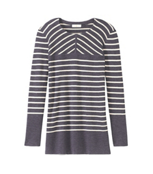 Dark Gray/ Ivory Simple Stripe D Tory Burch Seraphina Tunic