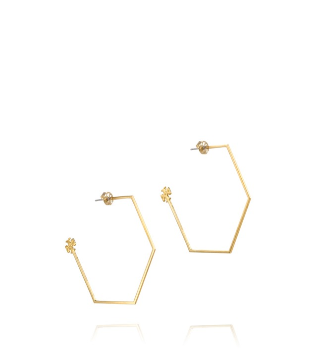Large Hex Hoop Earring