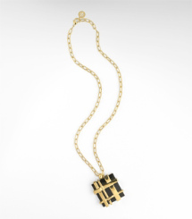 Tory Burch Gingham Pendant Necklace