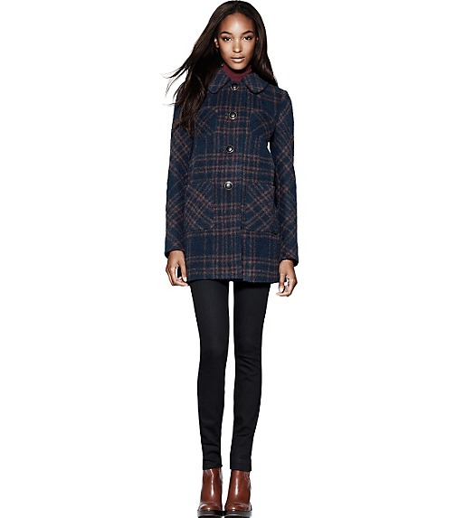 DENISE PLAID BOUCLÉ COAT