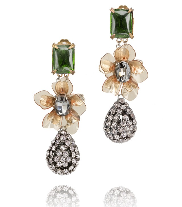 EMERALD STONE DIAMANTÉ TEAR DROP EARRING