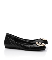 Black/bronze Tory Burch Quinn Quilted Leather Ballet Flat