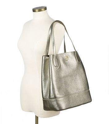 Tory Burch Metallic Michelle Tote - Platinum - are metallic handbags totes purses professional - best metallic handbags - holiday gifts presents for women 2012 - are metallic handbags totes purses neutral - is metallic a neutral color