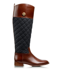 Almond/charcoal Tory Burch Rosalie Riding Boot
