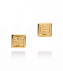 Tory Burch Square Logo Stud Earring