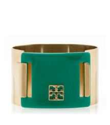 Malachite/antique Gold Tory Burch Pinched Logo Clasp Bangle